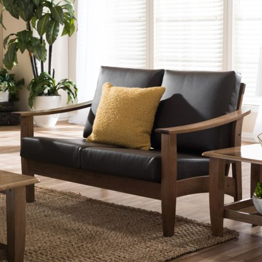 Baxton Studio Pierce Faux-Leather Loveseat