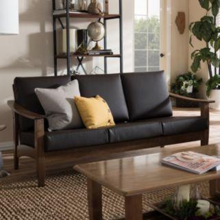 Baxton Studio Pierce Faux-Leather Sofa