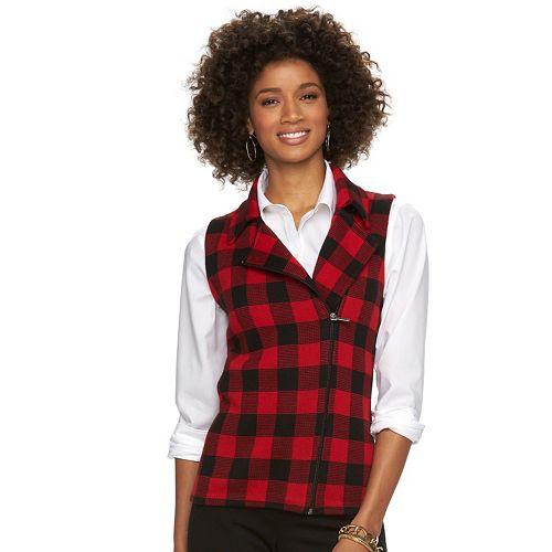 Women's Chaps Buffalo Check Asymmetrical Sweater Vest