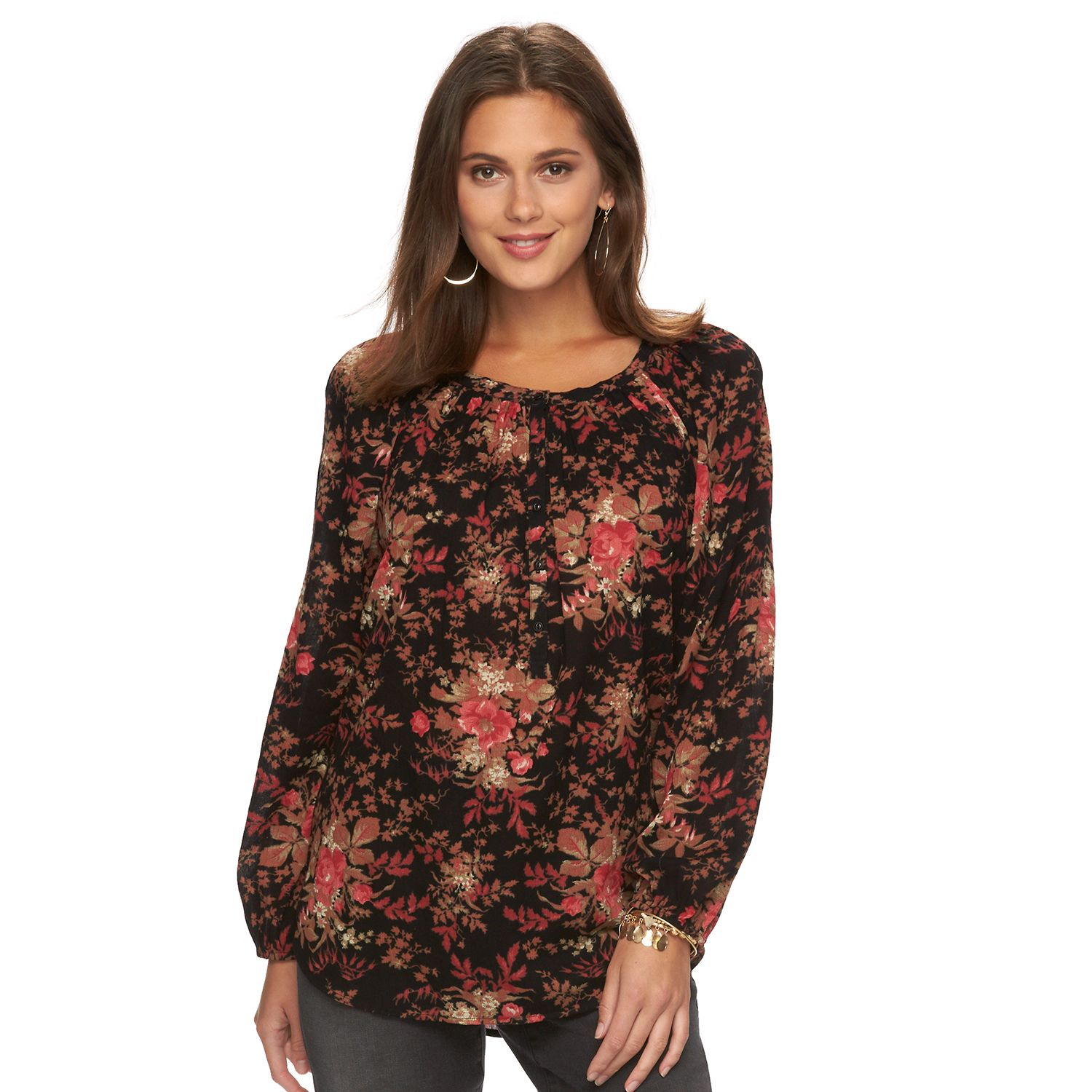 Womens Chaps Floral Crinkle Peasant Top