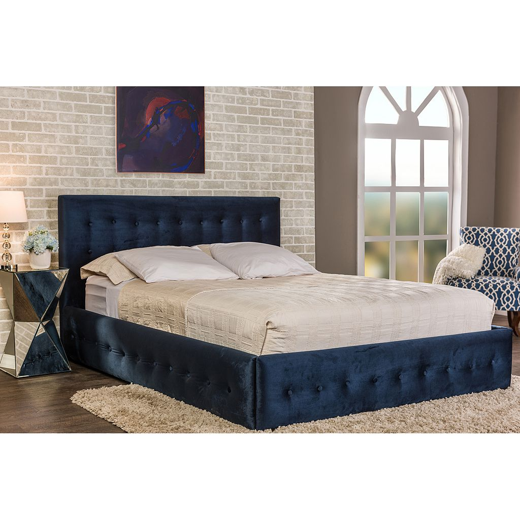 Baxton Studio Morgan Velvet Button Tufted Queen Platform Bed