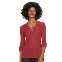 Women's Chaps Lace-Up Textured Sweater