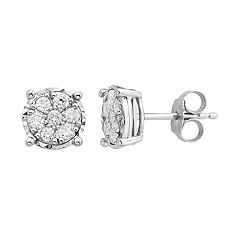 Sterling Silver 1/2 Carat T.W. Diamond Cluster Stud Earrings