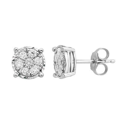 Sterling Silver 1/2 Carat T.W. Diamond Cluster Stud Earrings