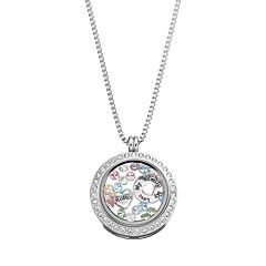 Blue La Rue Crystal Stainless Steel 1-in. Round Family Charm Locket