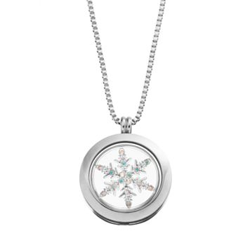 Blue La Rue Crystal Stainless Steel 1-in. Round Snowflake Charm Locket