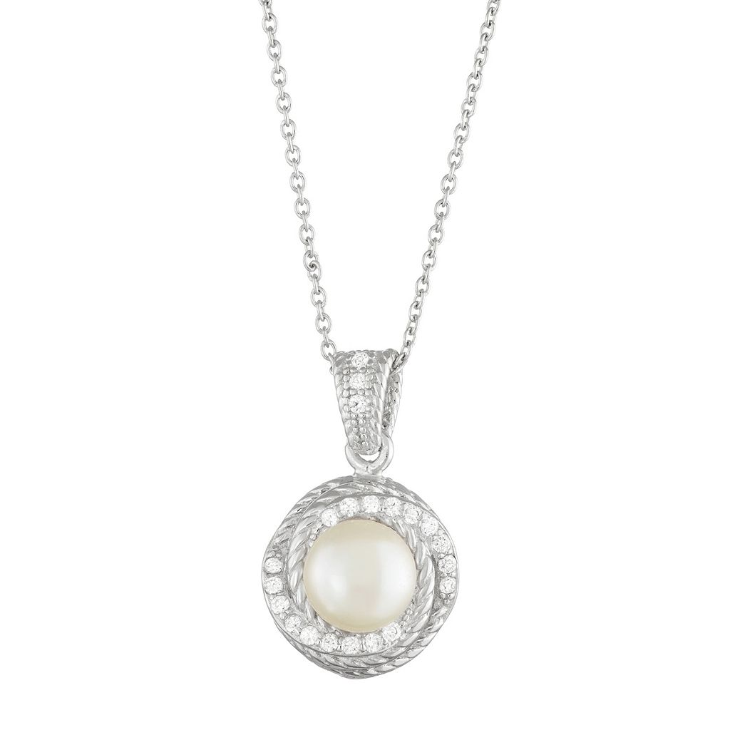 Sterling Silver Freshwater Cultured Pearl & Cubic Zirconia Swirl Pendant