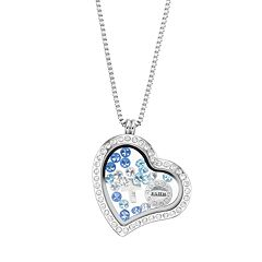 Blue La Rue Crystal Stainless Steel 1.2 in Heart Charm Locket