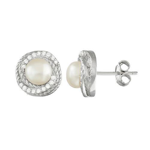 Sterling Silver Freshwater Cultured Pearl & Cubic Zirconia Swirl Stud Earrings