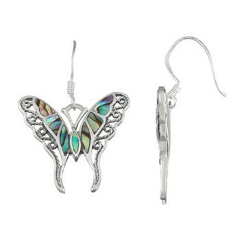 Sterling Silver Abalone Butterfly Drop Earrings