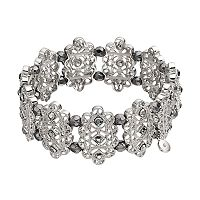 Gray Beaded Filigree Stretch Bracelet
