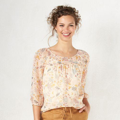 Women's LC Lauren Conrad Metallic Pintucked Peasant Top