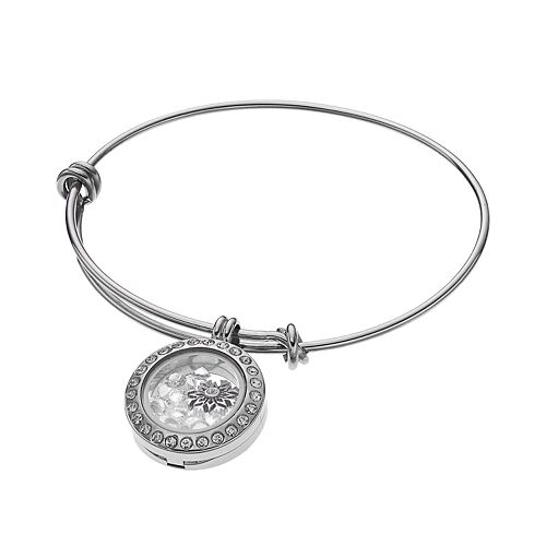 Blue La Rue Crystal Stainless Steel .8-in. Round Snowflake Charm Locket Bangle Bracelet