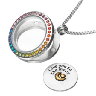 """Blue La RueCrystal Stainless Steel 1-in. Round """"Love You to the Moon"""" Charm Locket"""