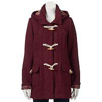 Juniors' Coffee Shop Plaid-Lined Toggle Wool Jacket
