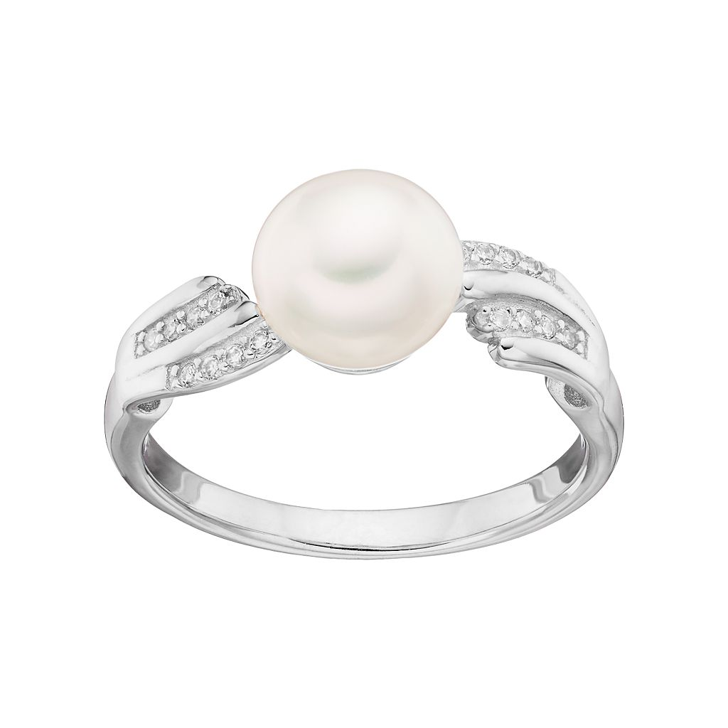 Sterling Silver Freshwater Cultured Pearl & Cubic Zirconia Ring