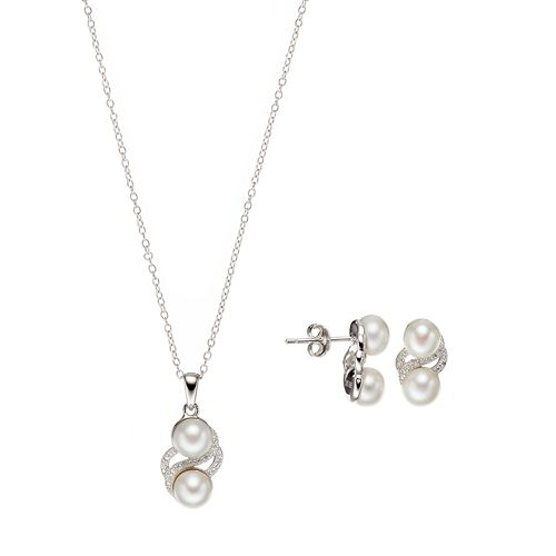 Sterling Silver Freshwater Cultured Pearl & Cubic Zirconia Jewelry Set