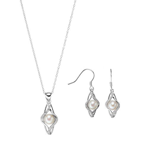 Sterling Silver Freshwater Cultured Pearl & Cubic Zirconia Kite Jewelry Set
