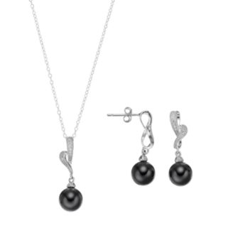 Sterling Silver Onyx & Cubic Zirconia Jewelry Set