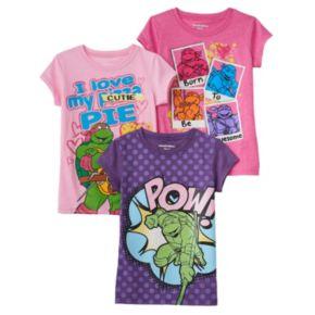 Girls 4-6x Teenage Mutant Ninja Turtles 3-pk. Glitter Graphic Tees