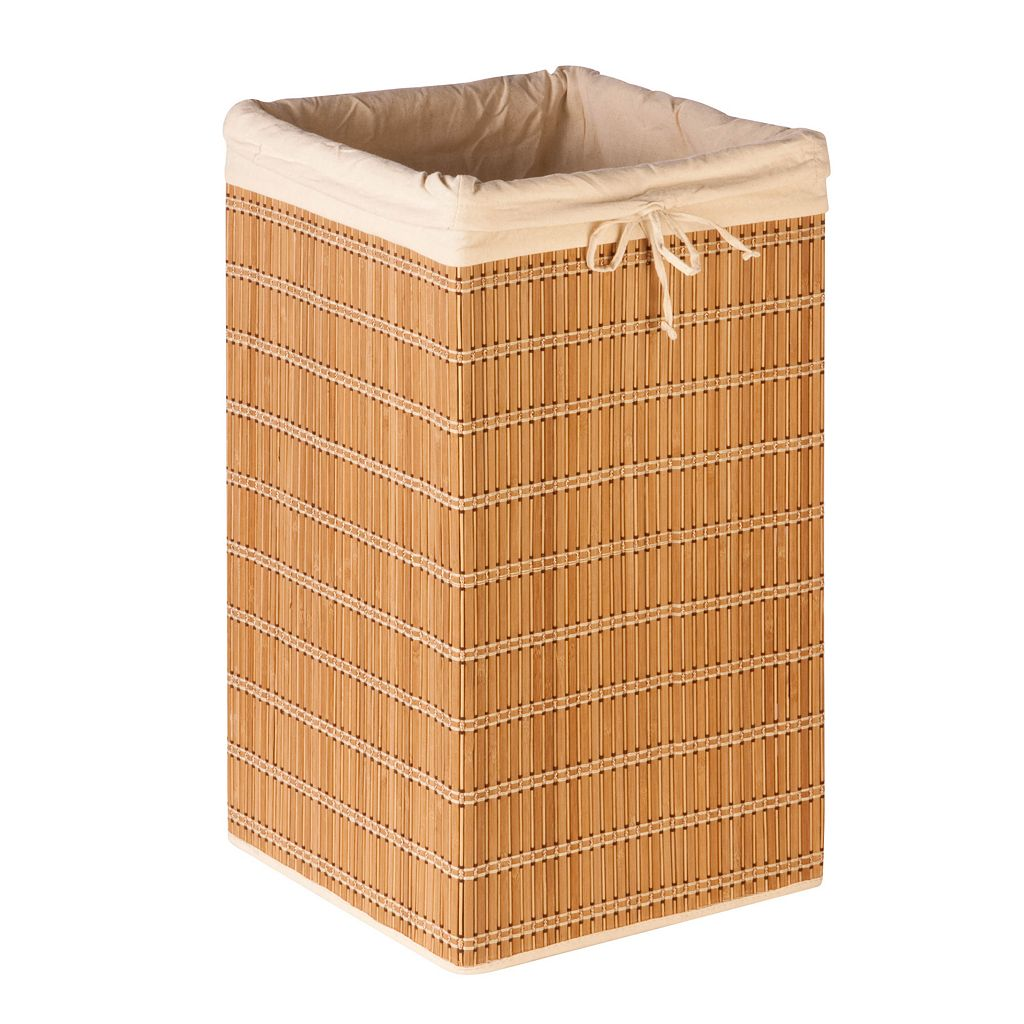 Honey-Can-Do Square Bamboo Wicker Hamper