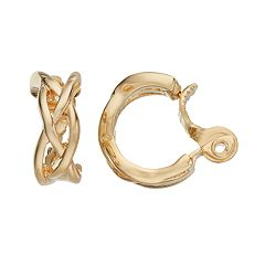 Napier Braided Clip On Hoop Earrings