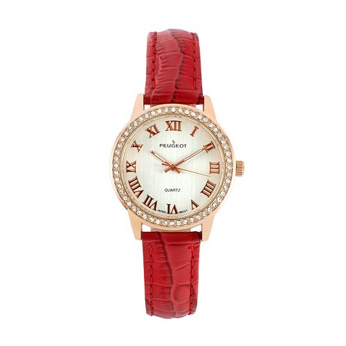 Peugeot Women's Crystal Leather Watch