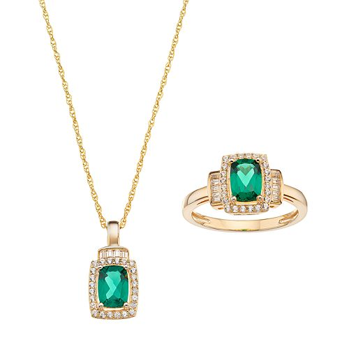 10k Gold Lab-Created Emerald & White Sapphire Halo Jewelry Set