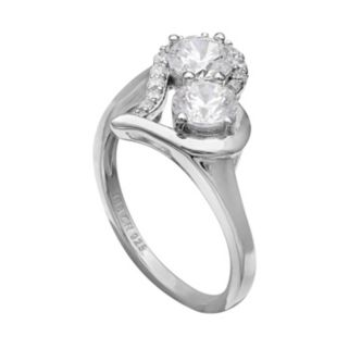 INTERTWINED Sterling Silver Cubic Zirconia Two Stone Heart Ring