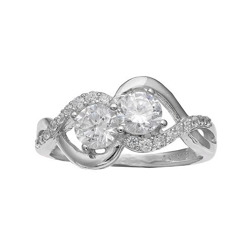 INTERTWINED Sterling Silver Cubic Zirconia Two Stone Twist Ring