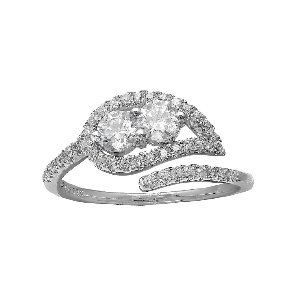 INTERTWINED Sterling Silver Cubic Zirconia Two Stone Leaf Open Ring
