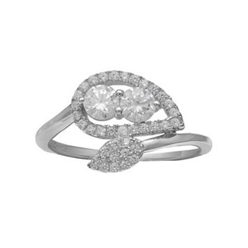 INTERTWINED Sterling Silver Cubic Zirconia Two Stone Double Leaf Ring