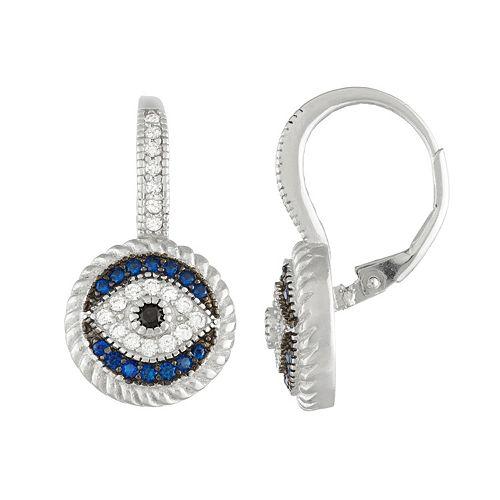 Sterling Silver Lab-Created Blue & Black Spinel & Cubic Zirconia Evil Eye Drop Earrings