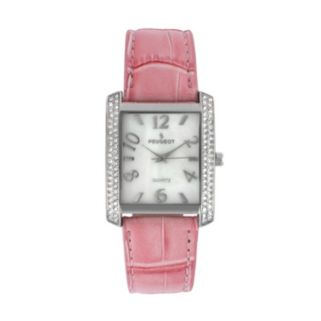Peugeot Women's Crystal Pink Leather Watch - 325PK