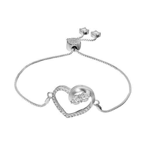 INTERTWINED Sterling Silver Cubic Zirconia Two Stone Heart Bolo Bracelet