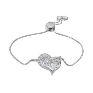 INTERTWINED Sterling Silver Cubic Zirconia Two Stone Heart Adjustable Bracelet