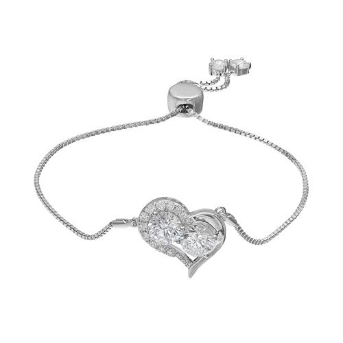 INTERTWINED Sterling Silver Cubic Zirconia Two Stone Heart Adjustable Bracelet