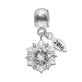 Individuality Beads Sterling Silver Crystal 2016 Snowflake Charm