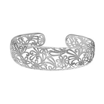 Polished Sterling Silver Flower Filigree Cuff Bracelet