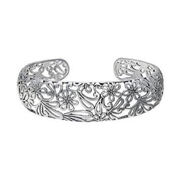 Oxidized Flower Filigree Cuff Bracelet