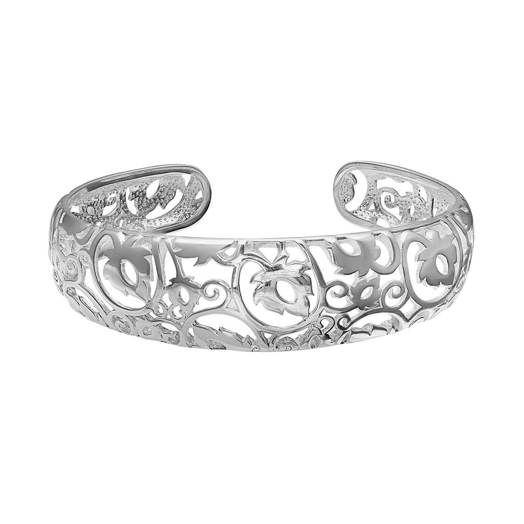 Sterling Silver Leaf Filigree Cuff Bracelet