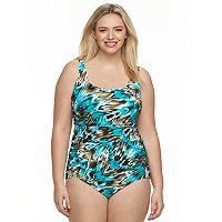 Plus Size Trimshaper Tummy Slimmer Control Embellished One-Piece Swimsuit