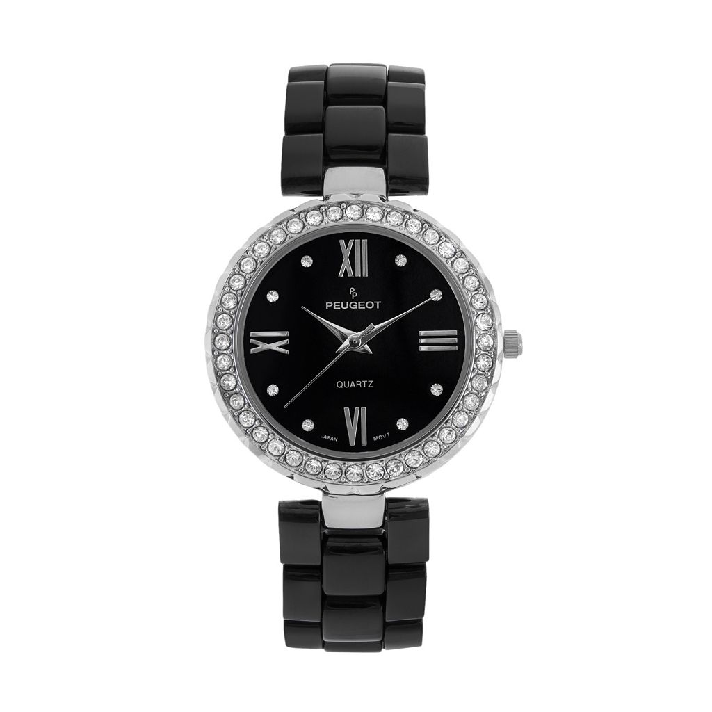 Peugeot Women's Crystal Black Ceramic Watch - 7078SBK
