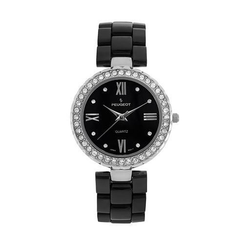Peugeot Women's Crystal Black Ceramic Watch - 7078SBK