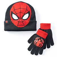 Boys Marvel Spider-Man Hat & Gloves Set