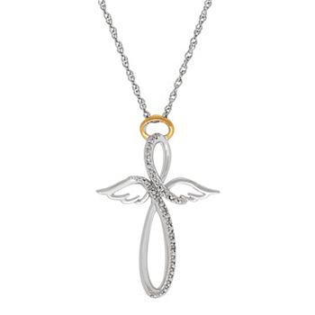 Miracles sterling silver diamond accent infinity angel pendant aloadofball Choice Image