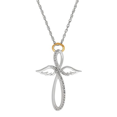 Miracles Sterling Silver Diamond Accent Infinity Angel Pendant