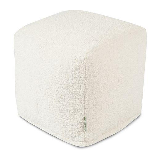 Majestic Home Goods Faux Sherpa Sheepskin Cube Pouf Ottoman