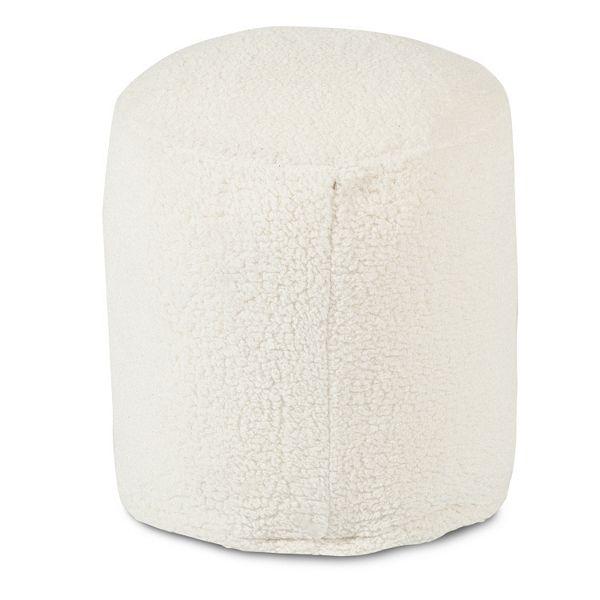 majestic home goods faux sherpa sheepskin small pouf ottoman
