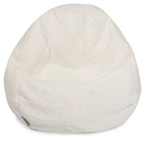 Majestic Home Goods Faux Sherpa Sheepskin Small Beanbag Chair